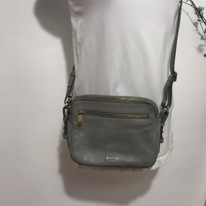 Fossil Crossbody leather bag/purse color gray